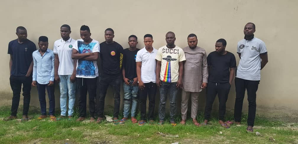 EFCC Arrests 16  Suspected Yahoo Boys In Ota, VI